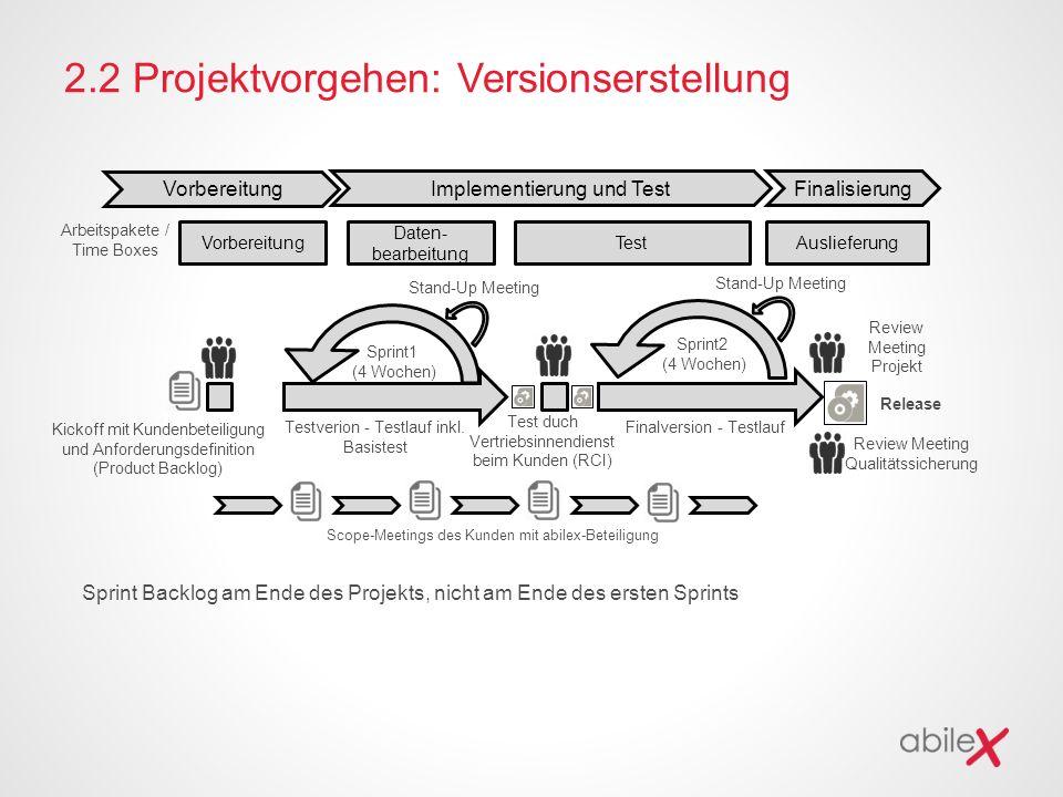 2.2 Projektvorgehen: Versionserstellung Kickoff mit Kundenbeteiligung und Anforderungsdefinition (Product Backlog) Testverion - Testlauf inkl. Basiste
