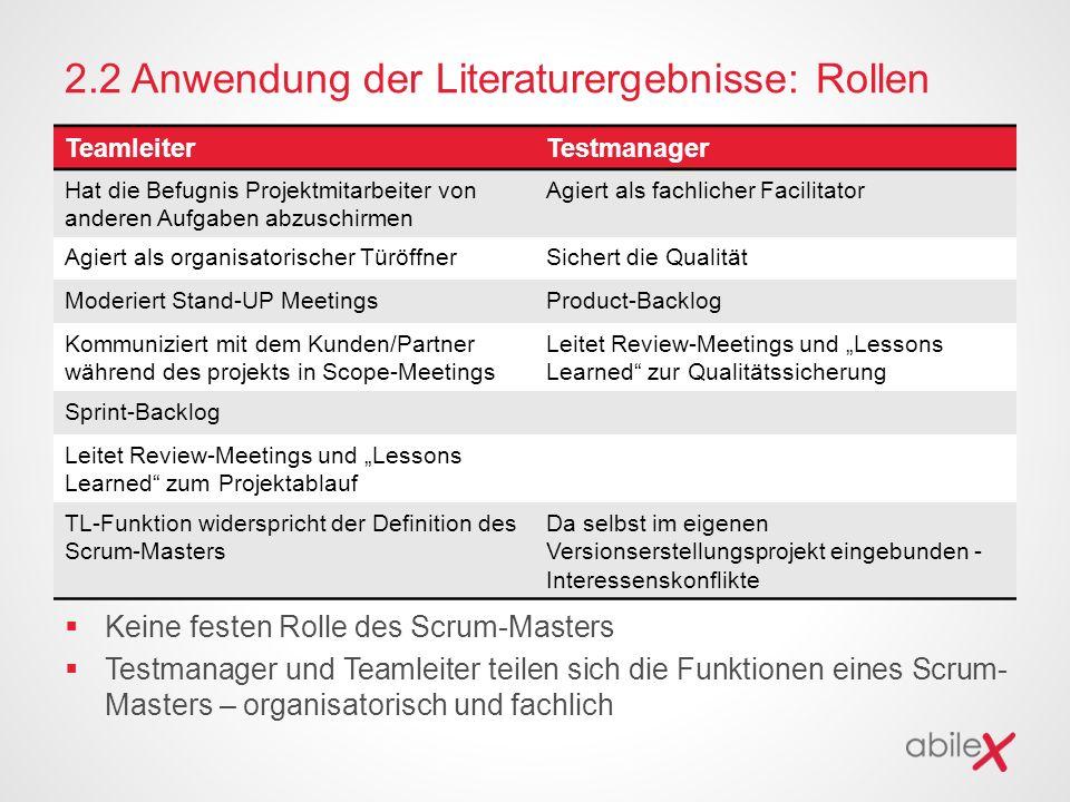 2.2 Anwendung der Literaturergebnisse: Rollen  Keine festen Rolle des Scrum-Masters  Testmanager und Teamleiter teilen sich die Funktionen eines Scr
