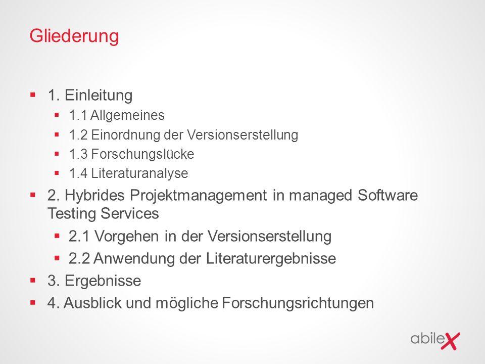 Gliederung  1. Einleitung  1.1 Allgemeines  1.2 Einordnung der Versionserstellung  1.3 Forschungslücke  1.4 Literaturanalyse  2. Hybrides Projek