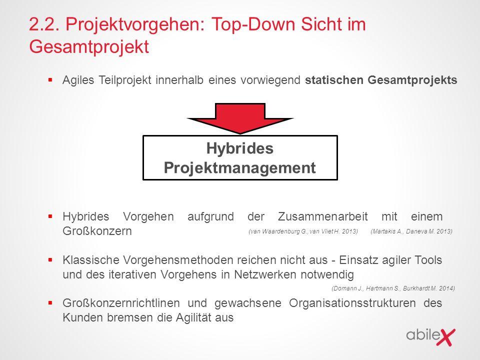 2.2. Projektvorgehen: Top-Down Sicht im Gesamtprojekt  Agiles Teilprojekt innerhalb eines vorwiegend statischen Gesamtprojekts Hybrides Projektmanage