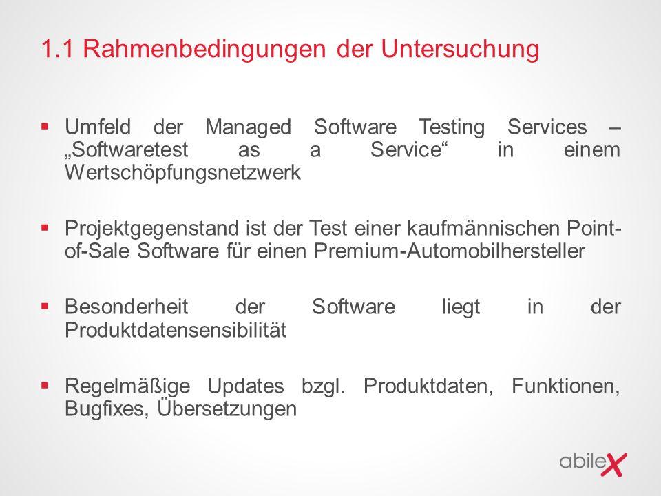 """1.1 Rahmenbedingungen der Untersuchung  Umfeld der Managed Software Testing Services – """"Softwaretest as a Service in einem Wertschöpfungsnetzwerk  Projektgegenstand ist der Test einer kaufmännischen Point- of-Sale Software für einen Premium-Automobilhersteller  Besonderheit der Software liegt in der Produktdatensensibilität  Regelmäßige Updates bzgl."""