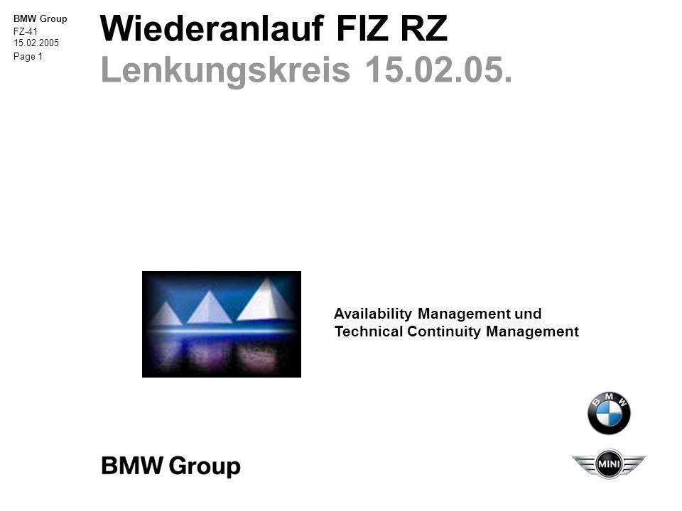 """BMW Group FZ-41 15.02.2005 Seite 12 Wiederanlauf FIZ RZ Schreibtischtest 31.01.05 Aufgrund des Fehlens der Vertreter aus den Bereichen """"Server- Unix und """"Server-Windows konnte keine Ziel-Wiederanlaufzeit ermittelt werden."""