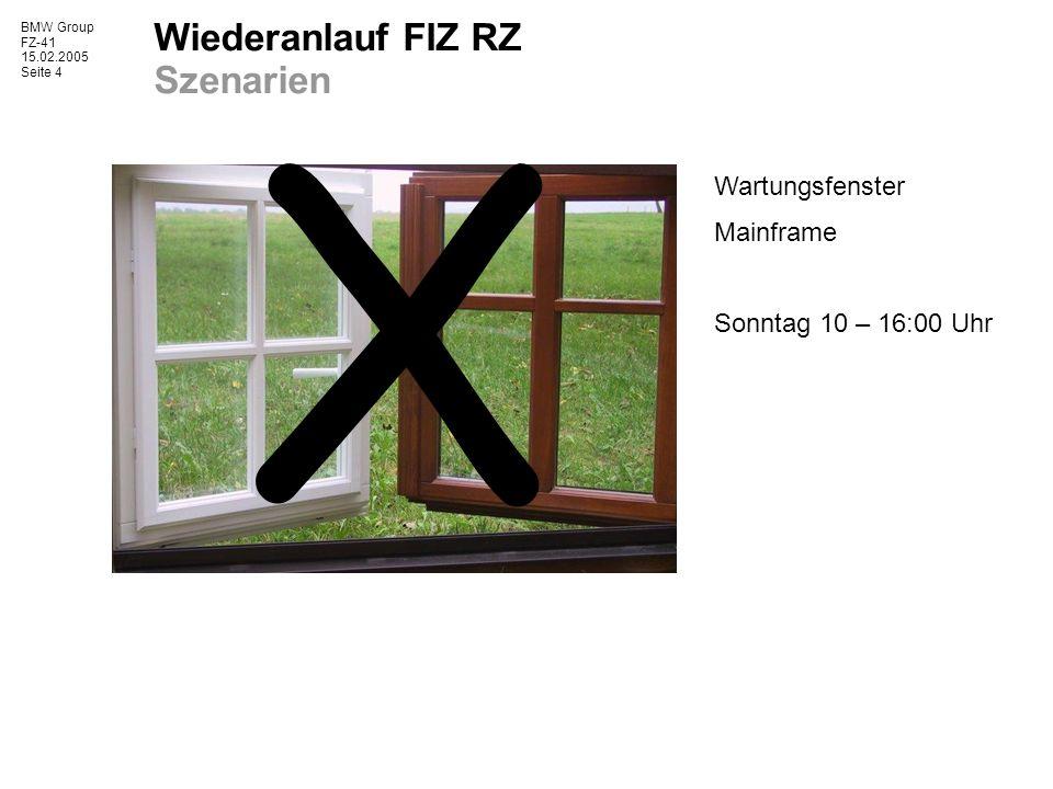 BMW Group FZ-41 15.02.2005 Seite 5 Wiederanlauf FIZ RZ Szenarien Wartungsfenster Mainframe Sonntag 10 – 16:00 Uhr