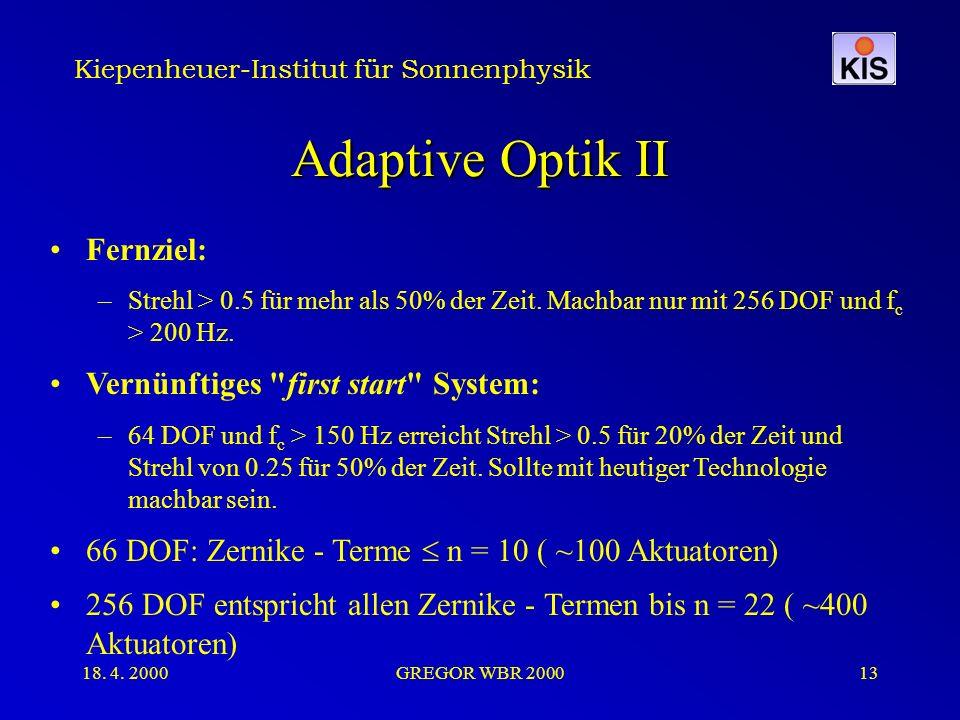 Kiepenheuer-Institut für Sonnenphysik 18. 4. 2000GREGOR WBR 200013 Adaptive Optik II Fernziel: –Strehl > 0.5 für mehr als 50% der Zeit. Machbar nur mi
