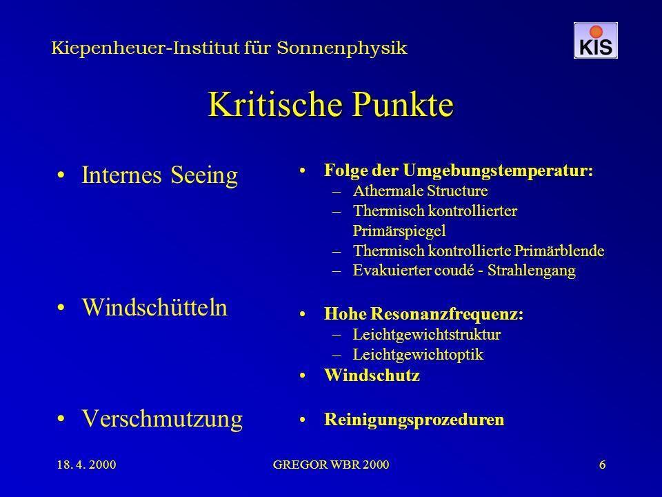 Kiepenheuer-Institut für Sonnenphysik 18. 4. 2000GREGOR WBR 20006 Kritische Punkte Internes Seeing Windschütteln Verschmutzung Folge der Umgebungstemp