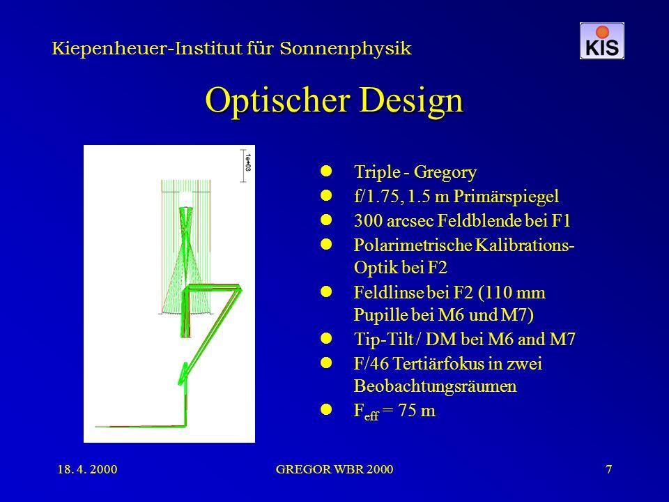 Kiepenheuer-Institut für Sonnenphysik 18. 4. 2000GREGOR WBR 20007 Optischer Design Triple - Gregory f/1.75, 1.5 m Primärspiegel 300 arcsec Feldblende