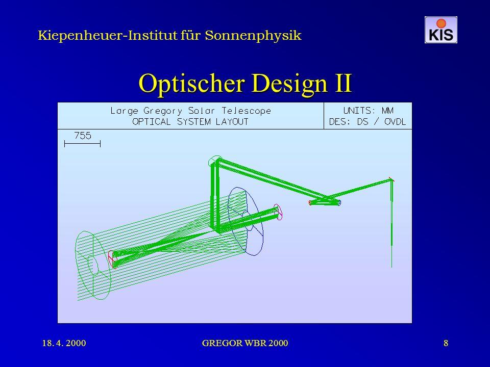 Kiepenheuer-Institut für Sonnenphysik 18. 4. 2000GREGOR WBR 20008 Optischer Design II