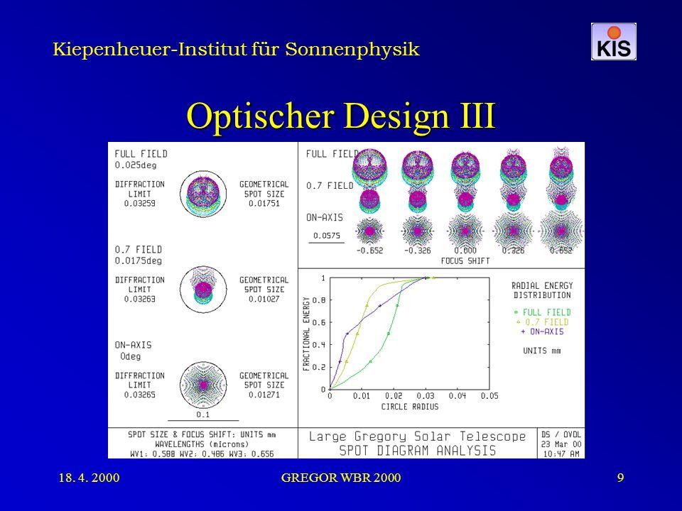Kiepenheuer-Institut für Sonnenphysik 18. 4. 2000GREGOR WBR 20009 Optischer Design III