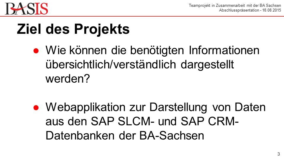 Teamprojekt in Zusammenarbeit mit der BA Sachsen Abschlusspräsentation - 18.08.2015 Vielen Dank für die Aufmerksamkeit ●offene Diskussion 14