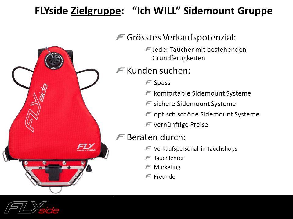 Grösstes Verkaufspotenzial: Jeder Taucher mit bestehenden Grundfertigkeiten Kunden suchen: Spass komfortable Sidemount Systeme sichere Sidemount Syste