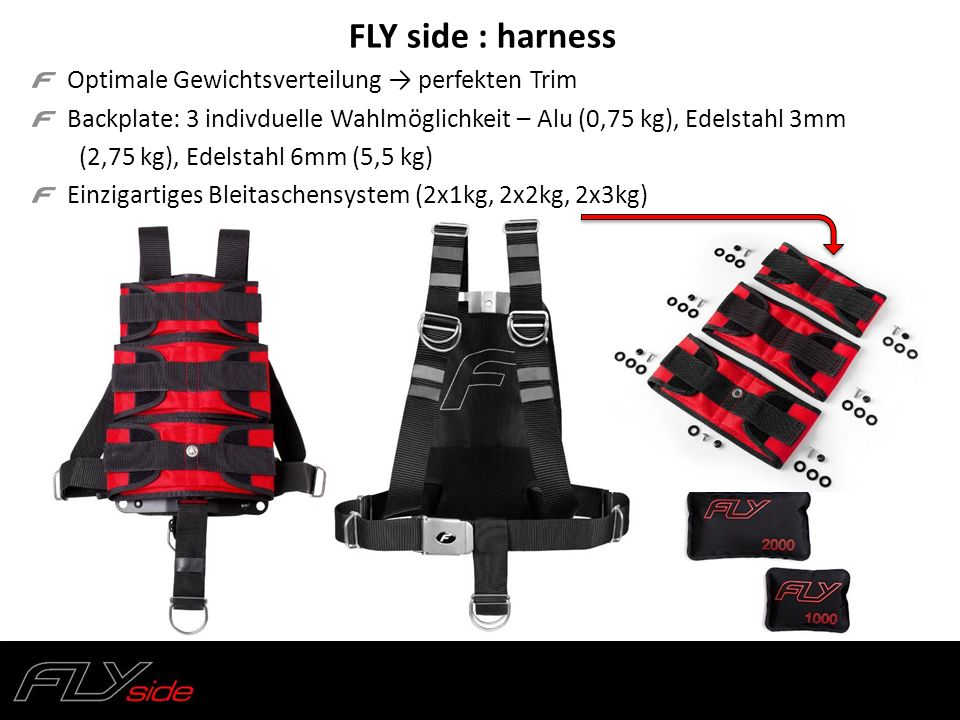 FLY side : harness Optimale Gewichtsverteilung → perfekten Trim Backplate: 3 indivduelle Wahlmöglichkeit – Alu (0,75 kg), Edelstahl 3mm (2,75 kg), Ede