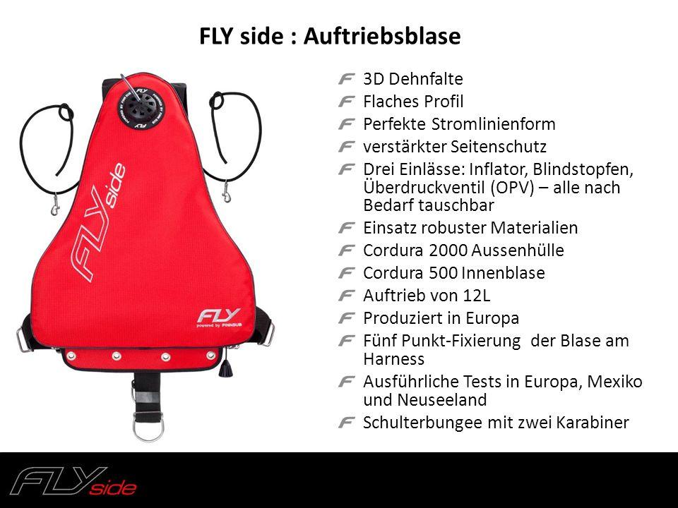 FLY side : Auftriebsblase 3D Dehnfalte Flaches Profil Perfekte Stromlinienform verstärkter Seitenschutz Drei Einlässe: Inflator, Blindstopfen, Überdru