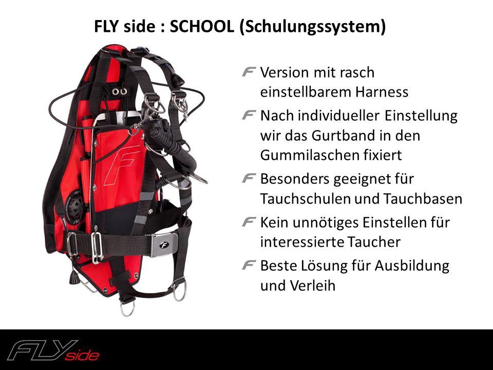 FLY side : SCHOOL (Schulungssystem) Version mit rasch einstellbarem Harness Nach individueller Einstellung wir das Gurtband in den Gummilaschen fixier