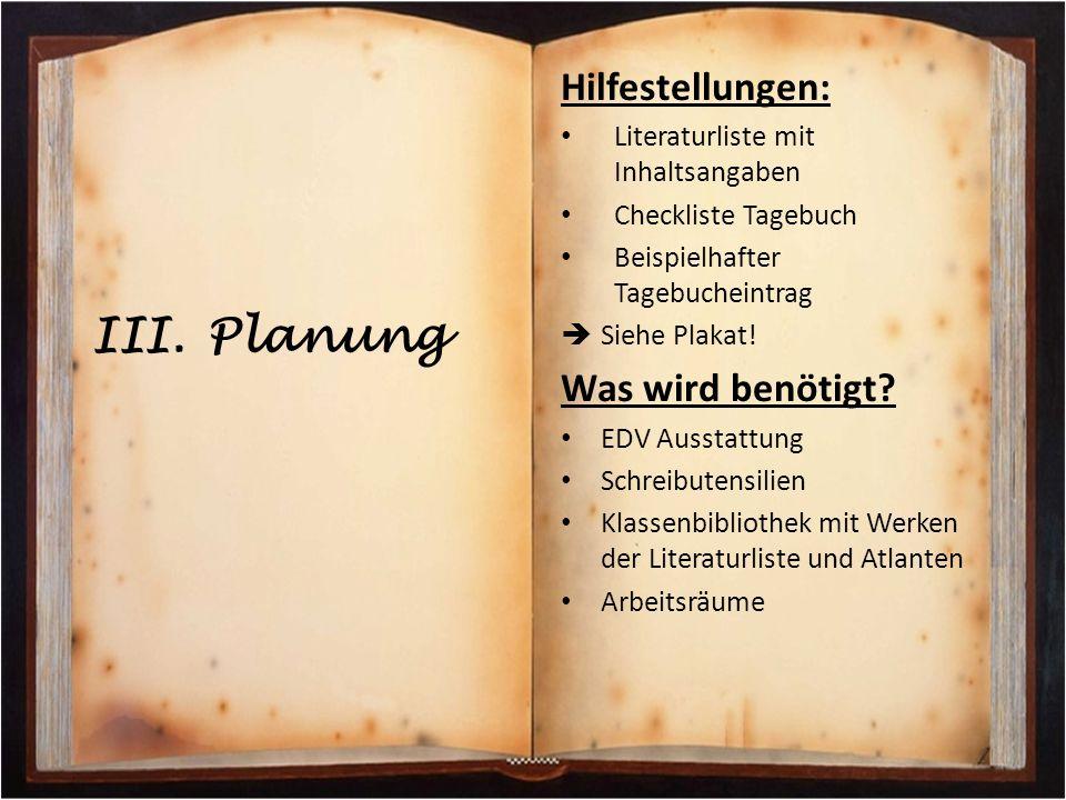 Hilfestellungen: Literaturliste mit Inhaltsangaben Checkliste Tagebuch Beispielhafter Tagebucheintrag  Siehe Plakat! Was wird benötigt? EDV Ausstattu