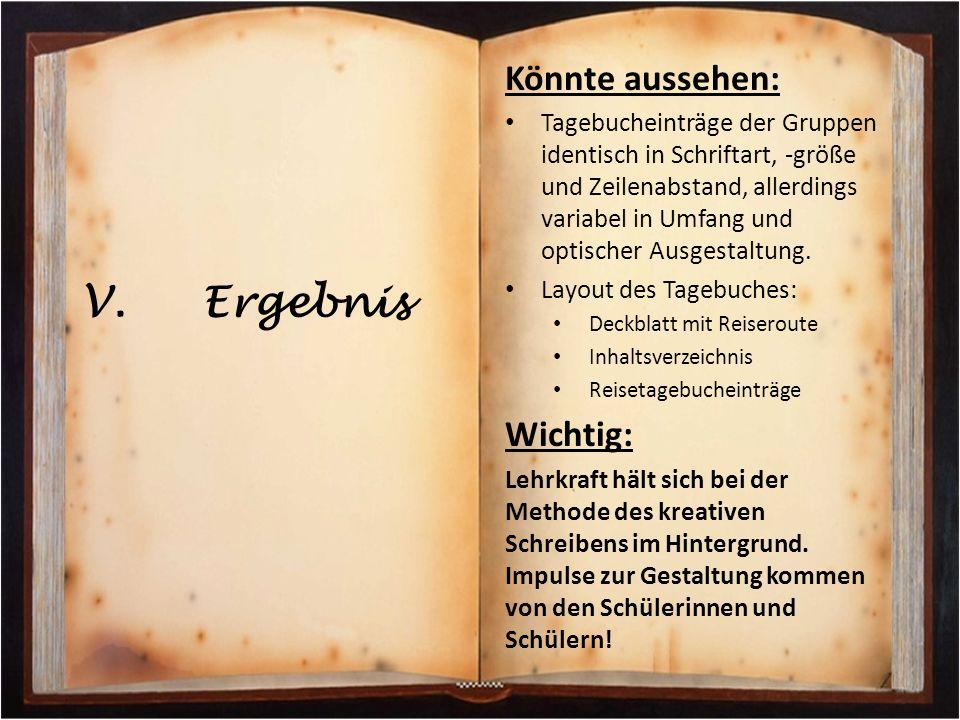 Könnte aussehen: Tagebucheinträge der Gruppen identisch in Schriftart, -größe und Zeilenabstand, allerdings variabel in Umfang und optischer Ausgestal