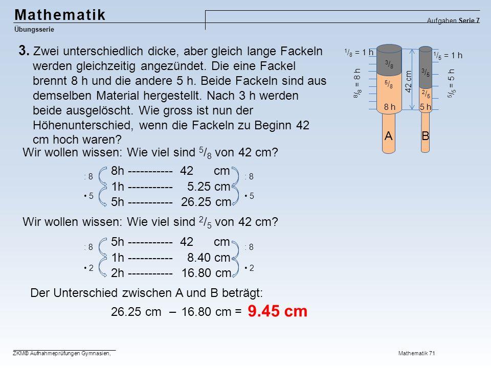 Mathematik Übungsserie Aufgaben Serie 7 ZKM© Aufnahmeprüfungen Gymnasien, Mathematik 71 3.