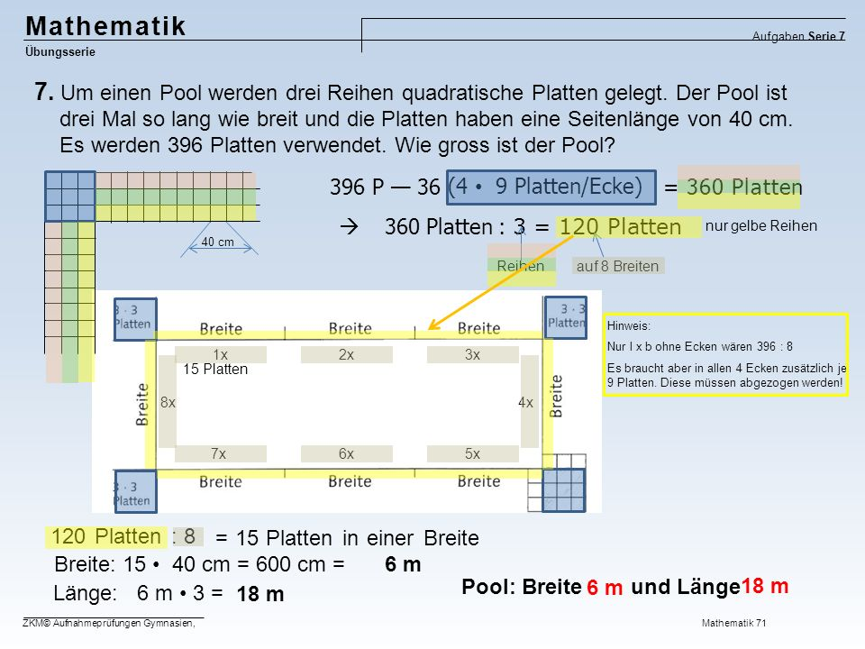 64, Mathematik Übungsserie Aufgaben Serie 7 ZKM© Aufnahmeprüfungen Gymnasien, Mathematik 71 8.