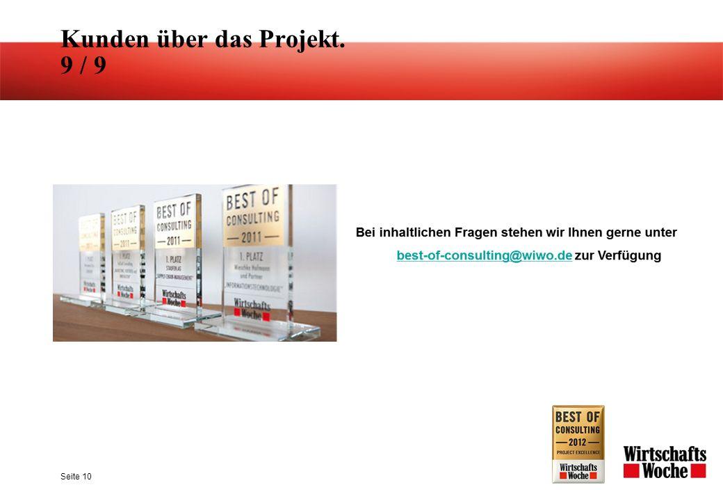 Kunden über das Projekt. 9 / 9 Seite 10