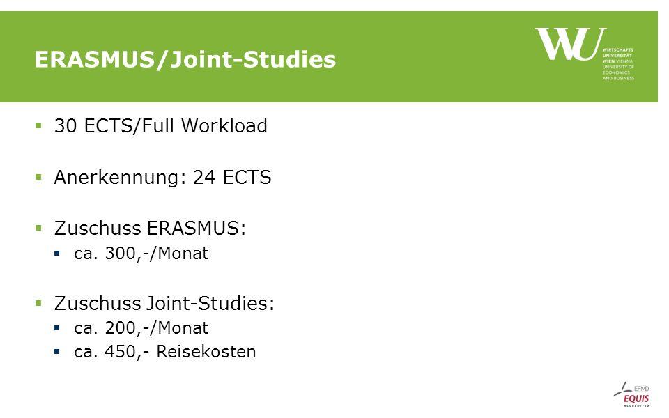 ERASMUS/Joint-Studies  30 ECTS/Full Workload  Anerkennung: 24 ECTS  Zuschuss ERASMUS:  ca.