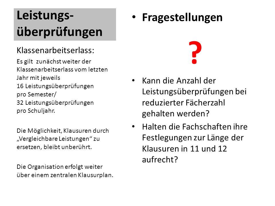 Leistungs- überprüfungen Fragestellungen .