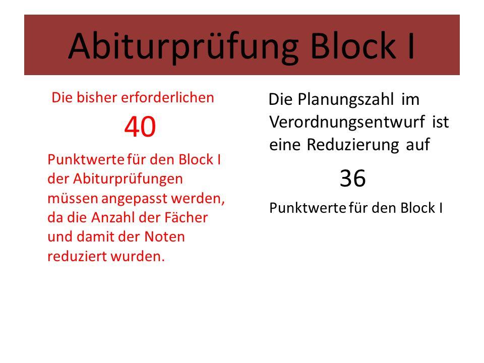 Abiturprüfung Block I Die bisher erforderlichen 40 Punktwerte für den Block I der Abiturprüfungen müssen angepasst werden, da die Anzahl der Fächer und damit der Noten reduziert wurden.