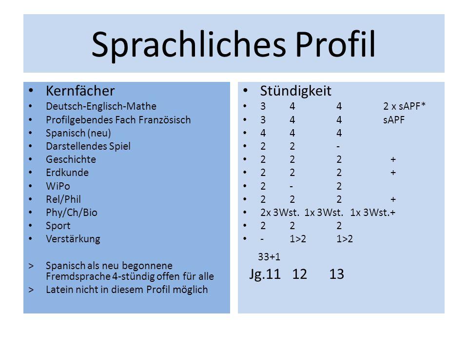 Sprachliches Profil Kernfächer Deutsch-Englisch-Mathe Profilgebendes Fach Französisch Spanisch (neu) Darstellendes Spiel Geschichte Erdkunde WiPo Rel/