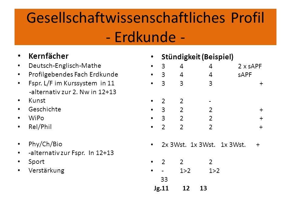 Gesellschaftwissenschaftliches Profil - Erdkunde - Kernfächer Deutsch-Englisch-Mathe Profilgebendes Fach Erdkunde Fspr. L/F im Kurssystem in 11 -alter