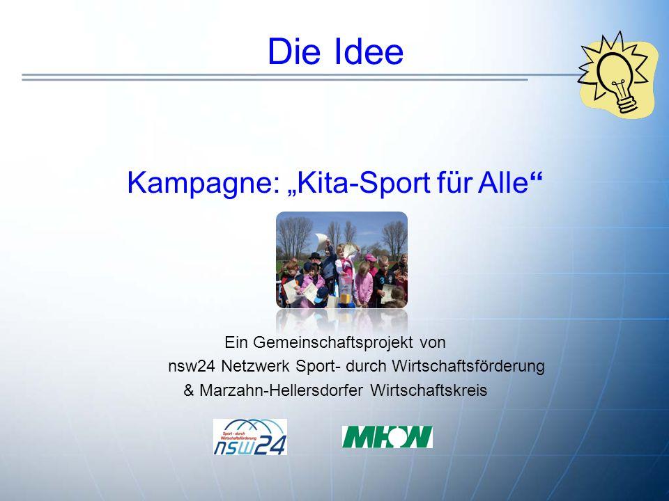"""Die Idee Kampagne: """"Kita-Sport für Alle Ein Gemeinschaftsprojekt von nsw24 Netzwerk Sport- durch Wirtschaftsförderung & Marzahn-Hellersdorfer Wirtschaftskreis."""