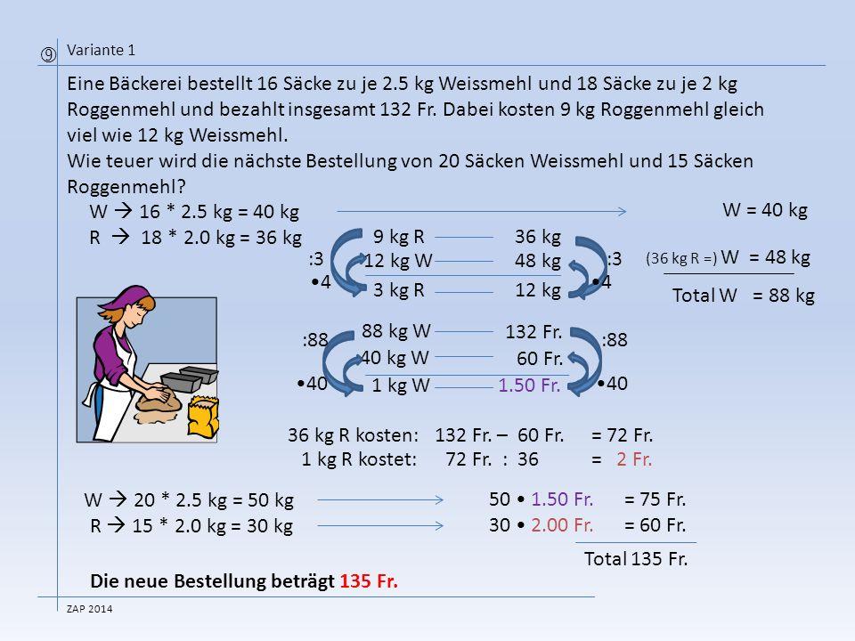 Eine Bäckerei bestellt 16 Säcke zu je 2.5 kg Weissmehl und 18 Säcke zu je 2 kg Roggenmehl und bezahlt insgesamt 132 Fr.