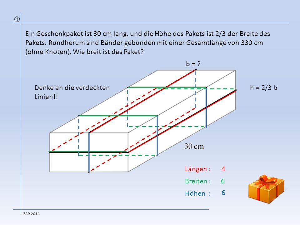 h = 2/3 b Länge der Schnur (ohne Knoten)330 cm Anzahl Längen:4 30 cm=120 cm Anzahl Breiten:6 .