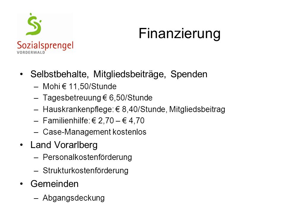 Finanzierung Selbstbehalte, Mitgliedsbeiträge, Spenden –Mohi € 11,50/Stunde –Tagesbetreuung € 6,50/Stunde –Hauskrankenpflege: € 8,40/Stunde, Mitglieds