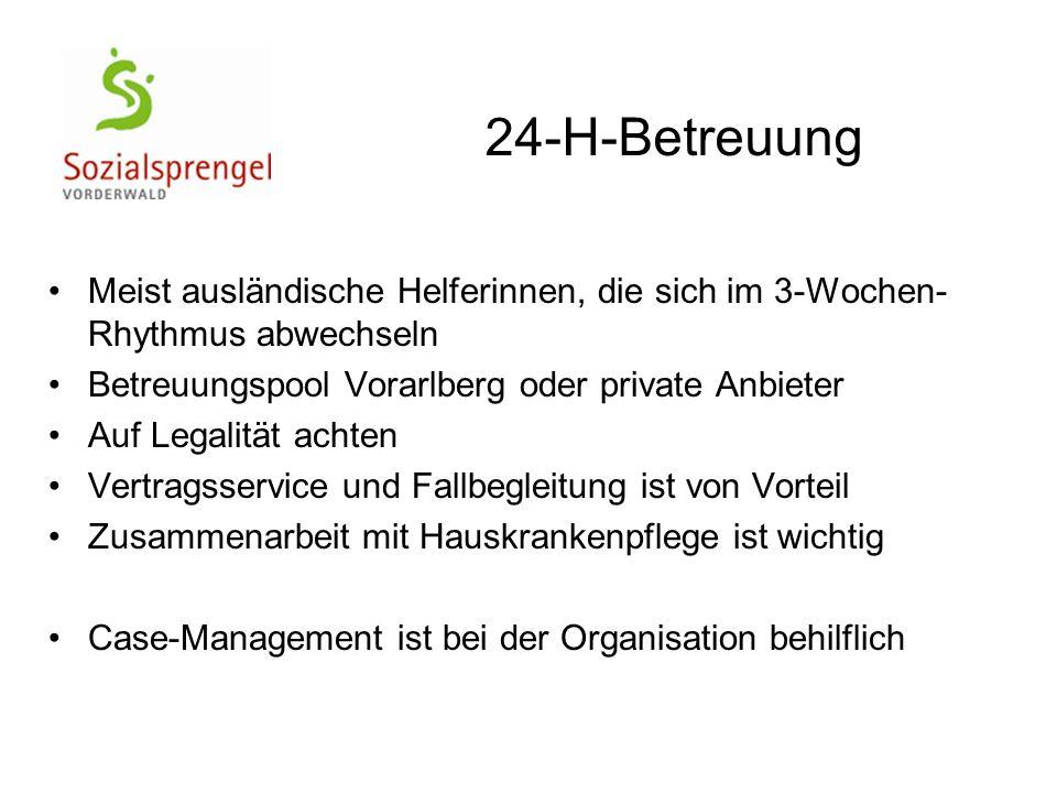 Meist ausländische Helferinnen, die sich im 3-Wochen- Rhythmus abwechseln Betreuungspool Vorarlberg oder private Anbieter Auf Legalität achten Vertrag