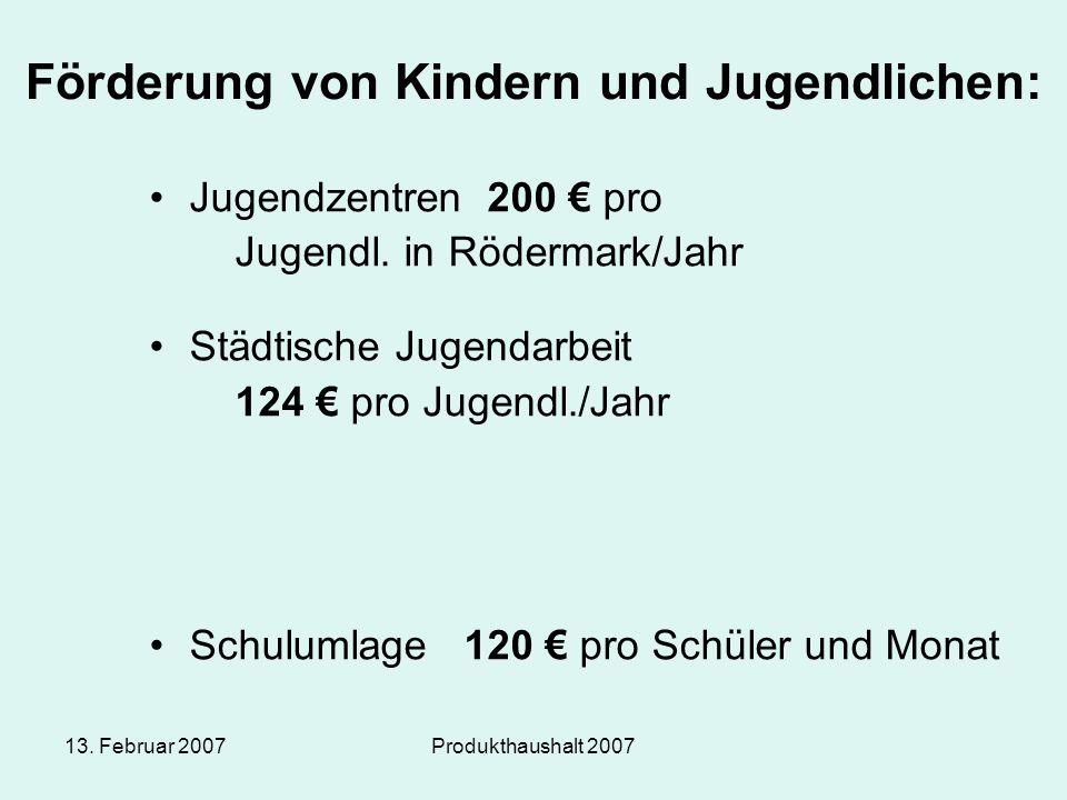 13. Februar 2007Produkthaushalt 2007 Förderung von Kindern und Jugendlichen: Jugendzentren 200 € pro Jugendl. in Rödermark/Jahr Städtische Jugendarbei