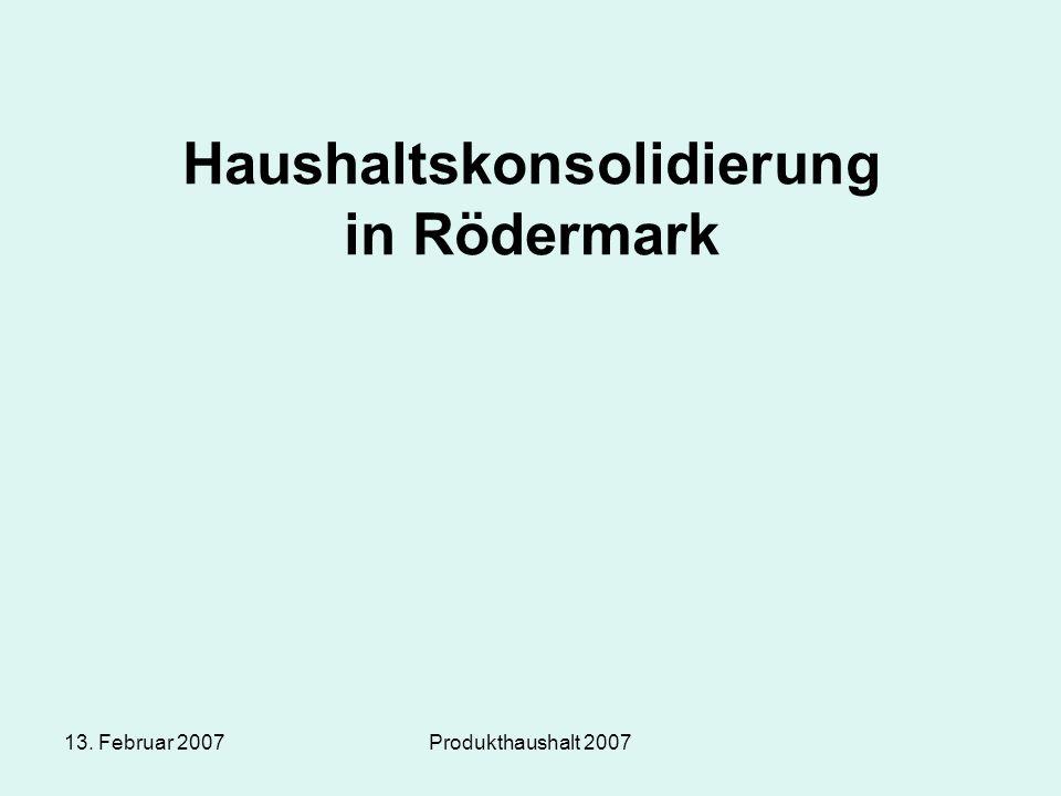 13. Februar 2007Produkthaushalt 2007 Haushaltskonsolidierung in Rödermark