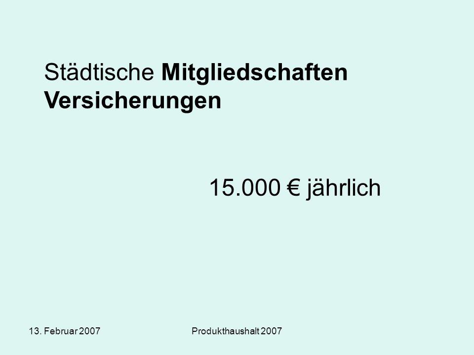 13. Februar 2007Produkthaushalt 2007 Städtische Mitgliedschaften Versicherungen 15.000 € jährlich