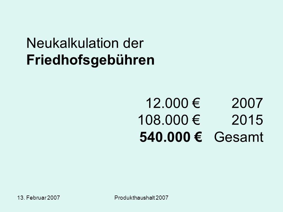 13. Februar 2007Produkthaushalt 2007 Neukalkulation der Friedhofsgebühren 12.000 € 2007 108.000 € 2015 540.000 € Gesamt