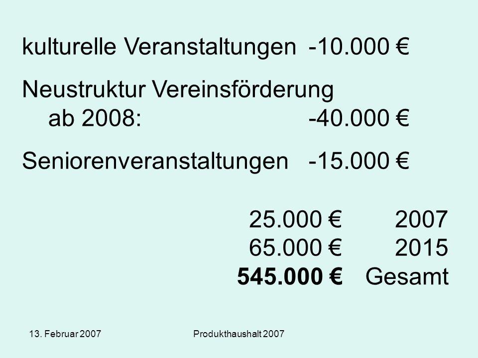13. Februar 2007Produkthaushalt 2007 kulturelle Veranstaltungen-10.000 € Neustruktur Vereinsförderung ab 2008:-40.000 € Seniorenveranstaltungen-15.000