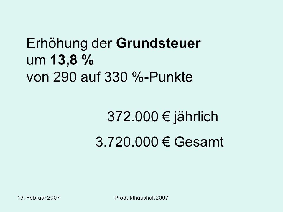 13. Februar 2007Produkthaushalt 2007 Erhöhung der Grundsteuer um 13,8 % von 290 auf 330 %-Punkte 372.000 € jährlich 3.720.000 € Gesamt