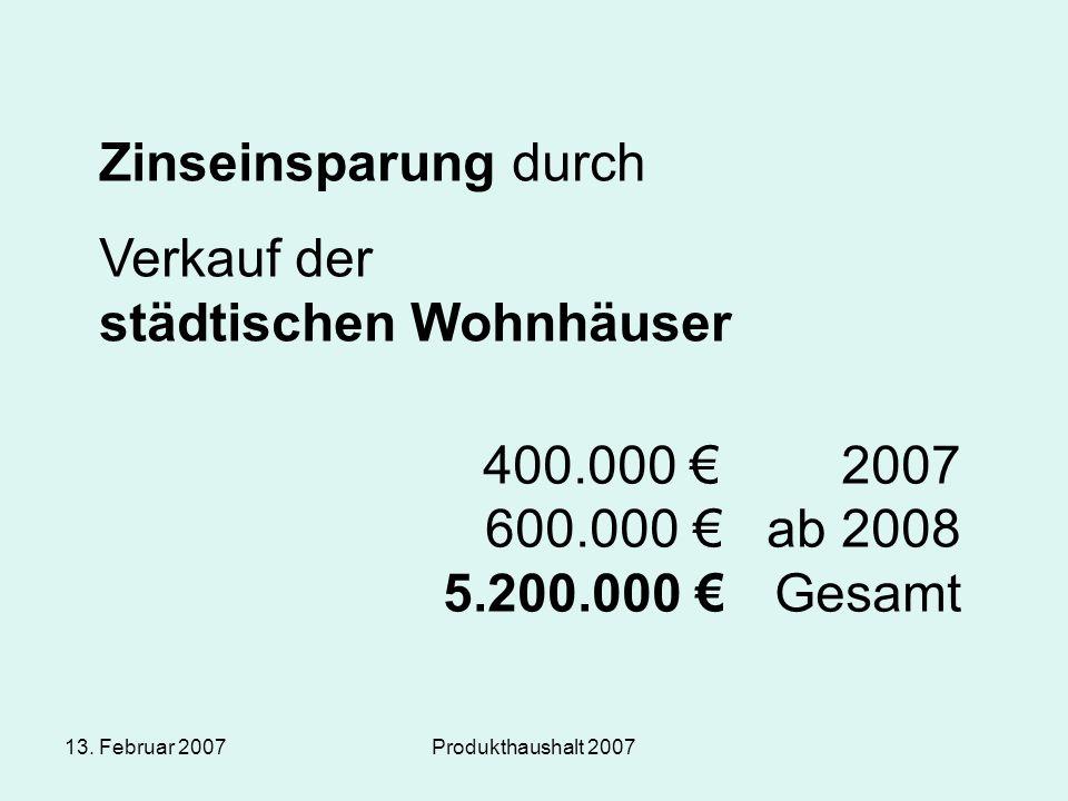 13. Februar 2007Produkthaushalt 2007 Zinseinsparung durch Verkauf der städtischen Wohnhäuser 400.000 € 2007 600.000 € ab 2008 5.200.000 € Gesamt