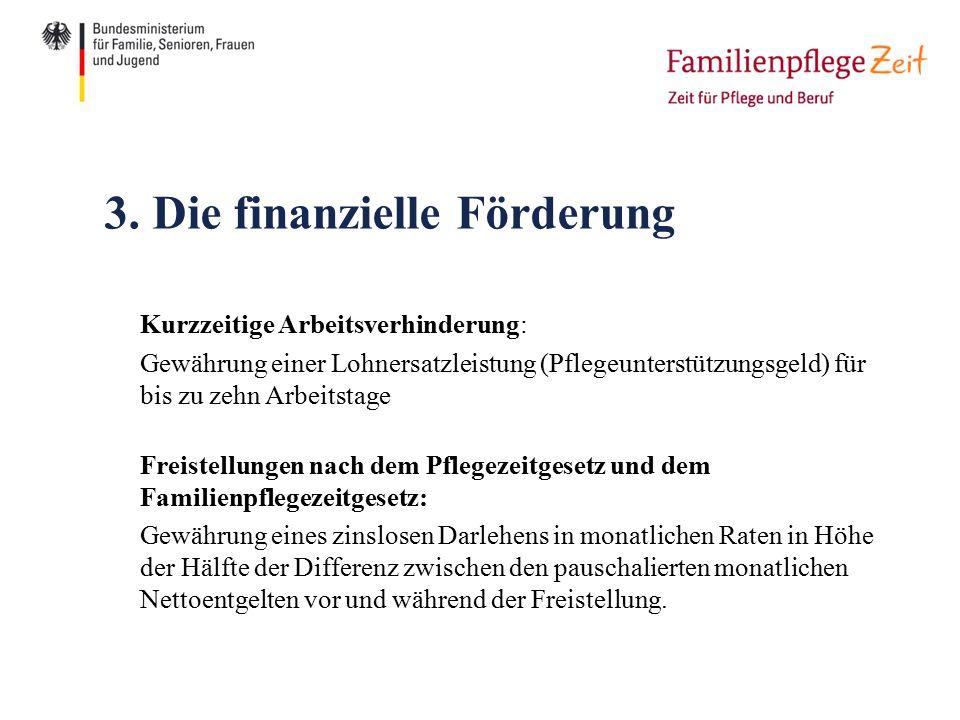3. Die finanzielle Förderung Kurzzeitige Arbeitsverhinderung: Gewährung einer Lohnersatzleistung (Pflegeunterstützungsgeld) für bis zu zehn Arbeitstag
