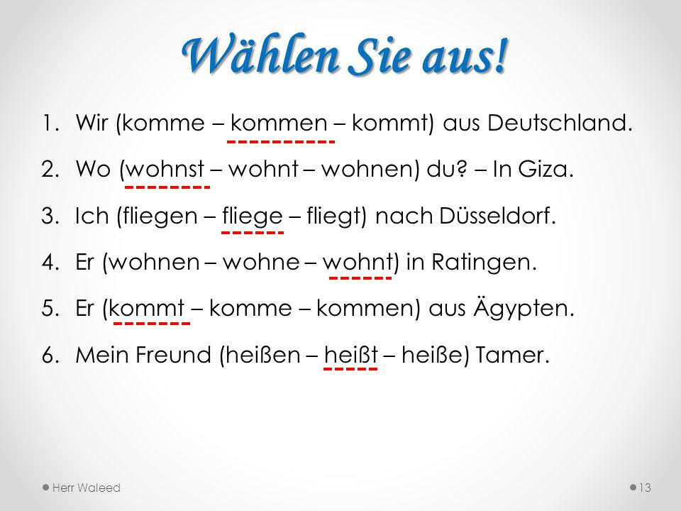 Wählen Sie aus! 1.Wir (komme – kommen – kommt) aus Deutschland. 2.Wo (wohnst – wohnt – wohnen) du? – In Giza. 3.Ich (fliegen – fliege – fliegt) nach D