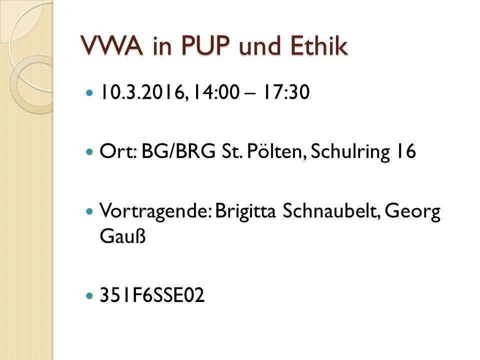 VWA in PUP und Ethik 10.3.2016, 14:00 – 17:30 Ort: BG/BRG St.