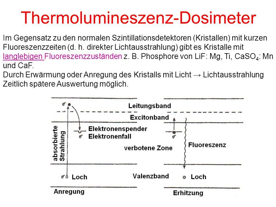 Thermolumineszenz-Dosimeter Im Gegensatz zu den normalen Szintillationsdetektoren (Kristallen) mit kurzen Fluoreszenzzeiten (d. h. direkter Lichtausst