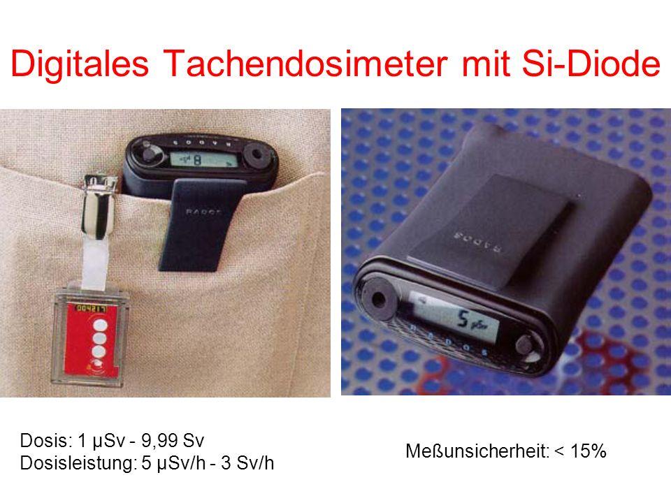 Digitales Tachendosimeter mit Si-Diode Dosis: 1 μSv - 9,99 Sv Dosisleistung: 5 μSv/h - 3 Sv/h Meßunsicherheit: < 15%