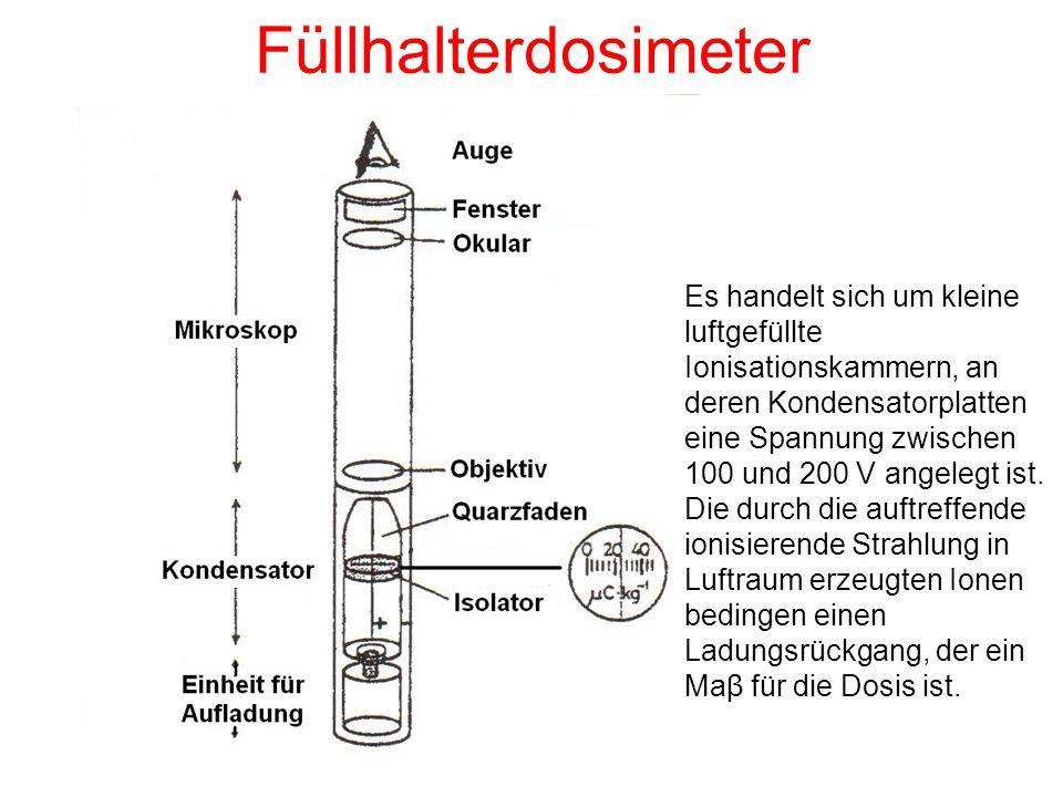 Füllhalterdosimeter Es handelt sich um kleine luftgefüllte Ionisationskammern, an deren Kondensatorplatten eine Spannung zwischen 100 und 200 V angele