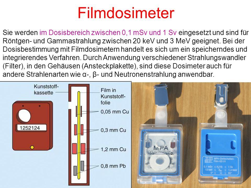 Filmdosimeter Sie werden im Dosisbereich zwischen 0,1 mSv und 1 Sv eingesetzt und sind für Röntgen- und Gammastrahlung zwischen 20 keV und 3 MeV geeig