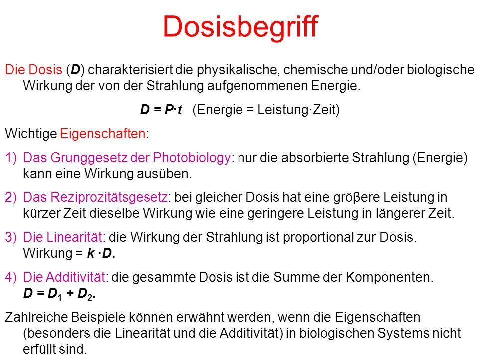 Die Energiedosis (englisch: absorbed dose) ist der Quotient aus der Energie dW, die durch ionisierende Strahlung auf die Masse dm des Materials der Dichte ρ im (endlichen) Volumenelement dV übertragen wird: Einheit: Gray (Gy)1 Gy = 1 J/kg Früher gebräuchliche Einheit: Rad (rd) Umrechnung: 1 rd = 1·10 -2 Gy Energiedosisleistung (rate): Weitere Gröβen (Definitionen) in der Dosimetrie Einheit: Gy/s = W/kg, Watt/kilogramm