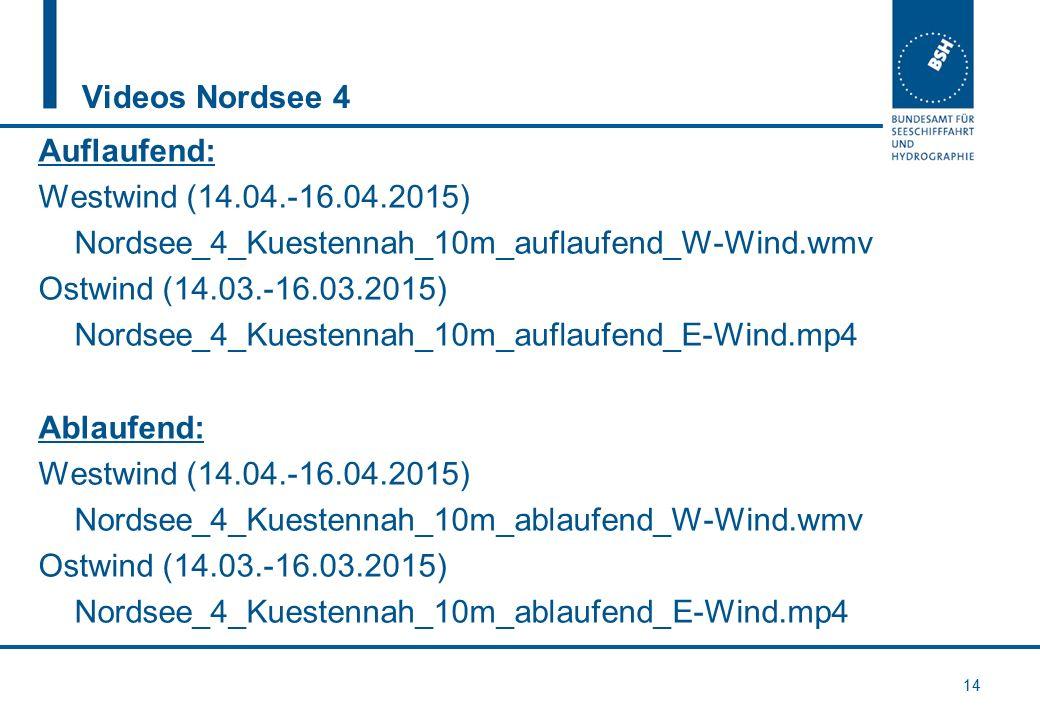 Videos Nordsee 4 Auflaufend: Westwind (14.04.-16.04.2015) Nordsee_4_Kuestennah_10m_auflaufend_W-Wind.wmv Ostwind (14.03.-16.03.2015) Nordsee_4_Kuesten