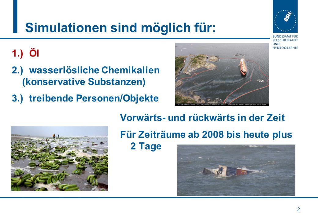 Simulationen sind möglich für: 2 1.)Öl 2.)wasserlösliche Chemikalien (konservative Substanzen) 3.)treibende Personen/Objekte Vorwärts- und rückwärts i