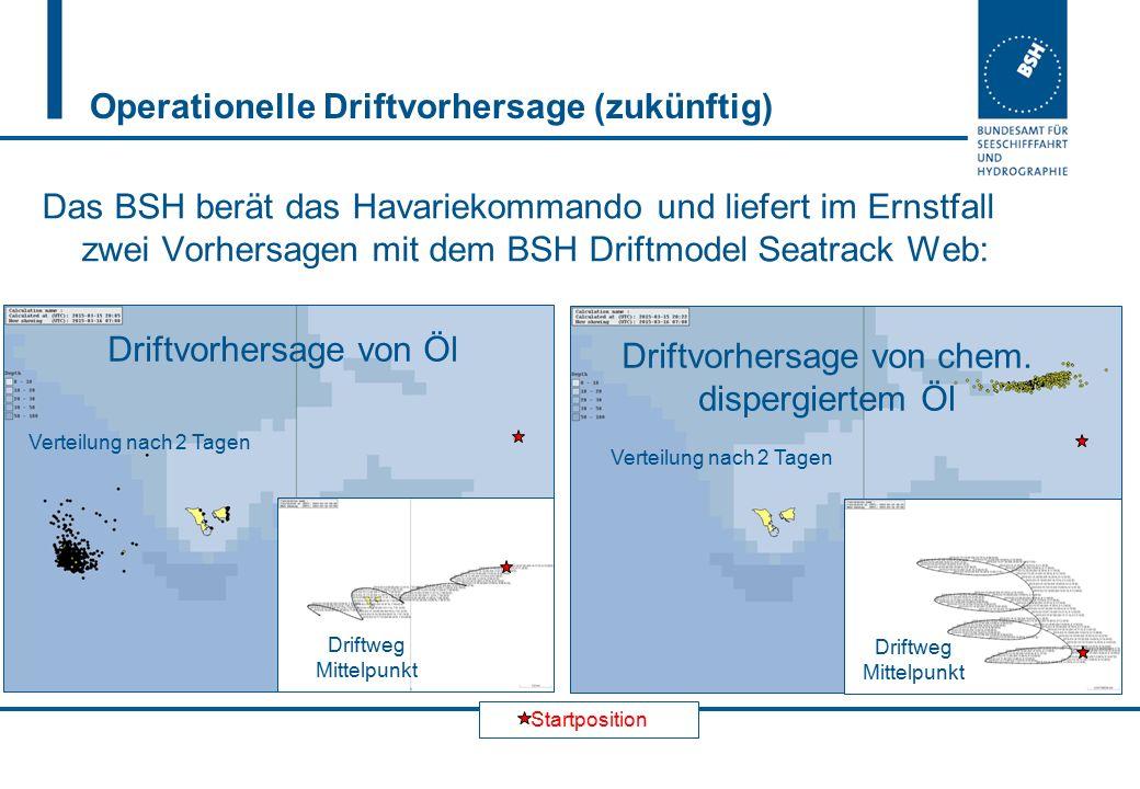 Startposition Operationelle Driftvorhersage (zukünftig) Das BSH berät das Havariekommando und liefert im Ernstfall zwei Vorhersagen mit dem BSH Driftm